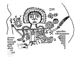 A drawing of an angel, possibly Gabriel, from a Gnostic Christian magical papyrus.
